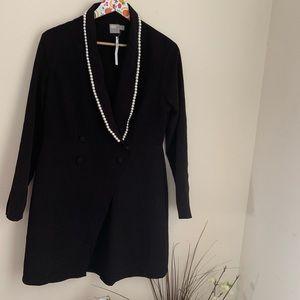 NWT ASOS Pearl Embellished Black longline blazer
